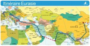 Carte du voyage en europe et asie